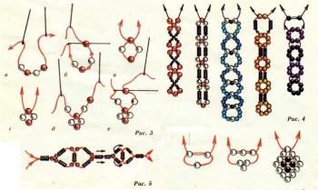 схема плетения простых браслетов из бисера