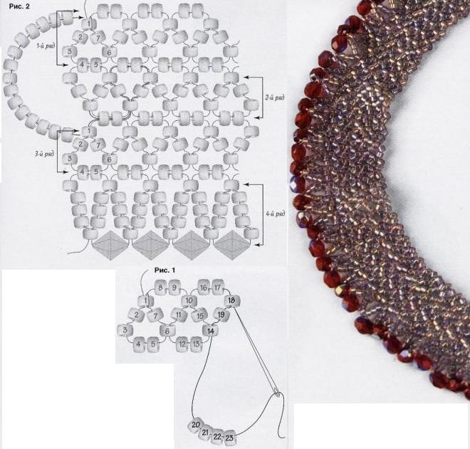 плетение белого колье из бисера. схема плетения колье из бисера.