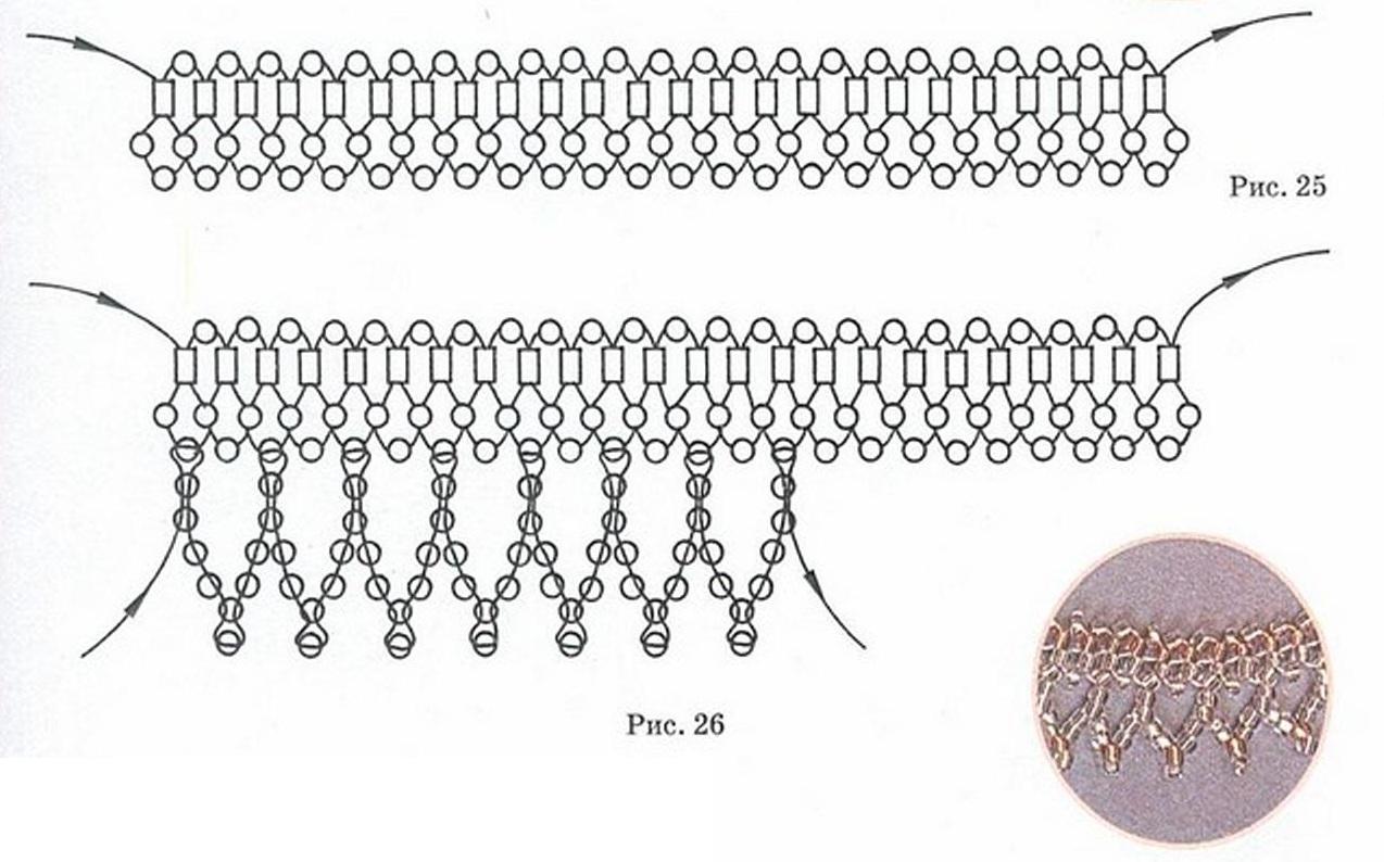 Соберите для основы цепочку из бисера или из бисера и стекляруса (см. Раздел: Основы Бисероплетения.