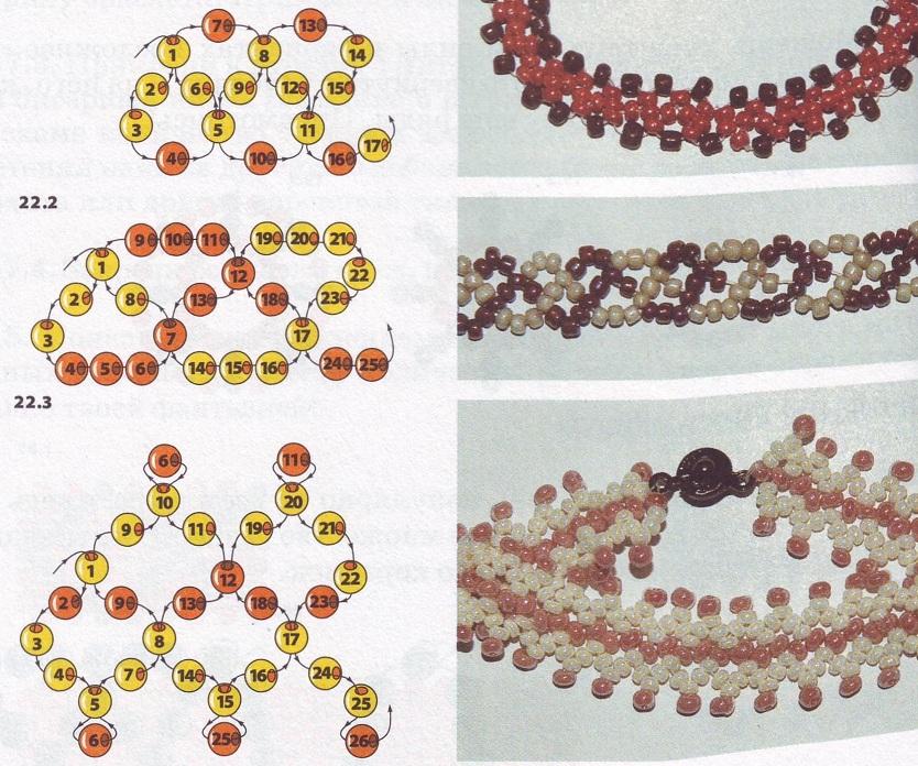 На нашей схеме ширина равно 2,5 ромба, а сторона каждого ромба - три бисеринки.  На основе плетения цепочки...