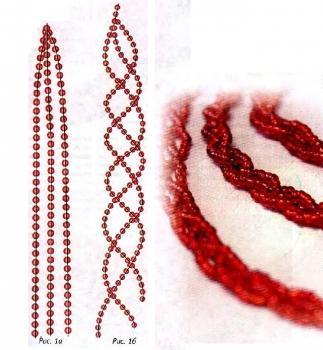 косичка из красного бисера