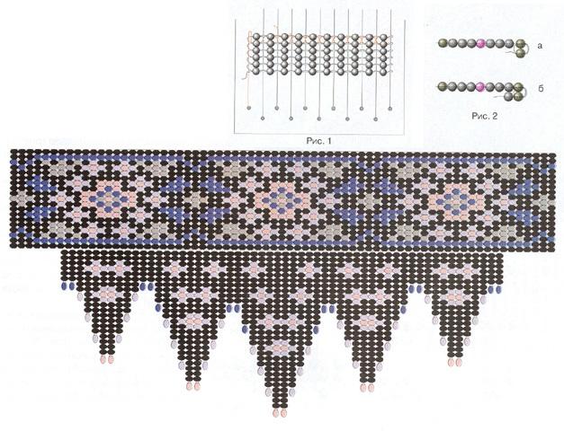 схема плетения стойки из бисера. схема плетения ошейника из бисера.