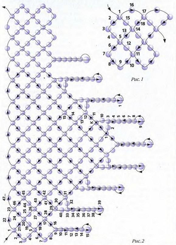 схема колье уголок из бисера. колье-уголок из бисера.