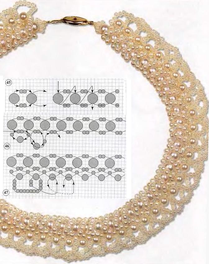 схема жемчужного колье из бусин