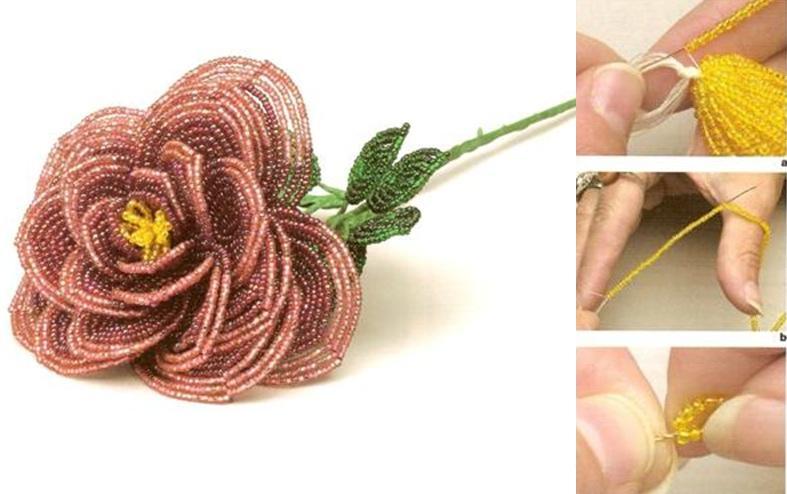 схемы розы из бисера. мастер класс плетения фенечек из бисера.
