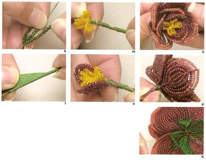 Схема плетения.  Роза из бисера.