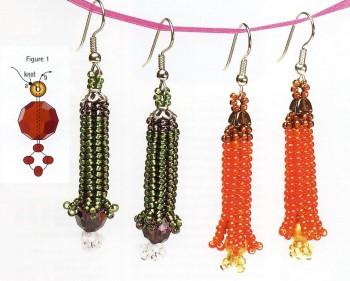 Милые серьги, сплетенные из бисера.  В пример приведены два варианта цвета.  Наглядная схема плетения изделий.