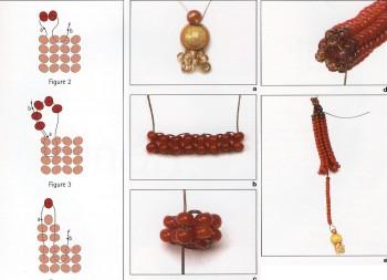 Еще вам понадобятся две бусины, которые подойдут под цвет бисера.  Наглядная и понятная схема плетения изделий.