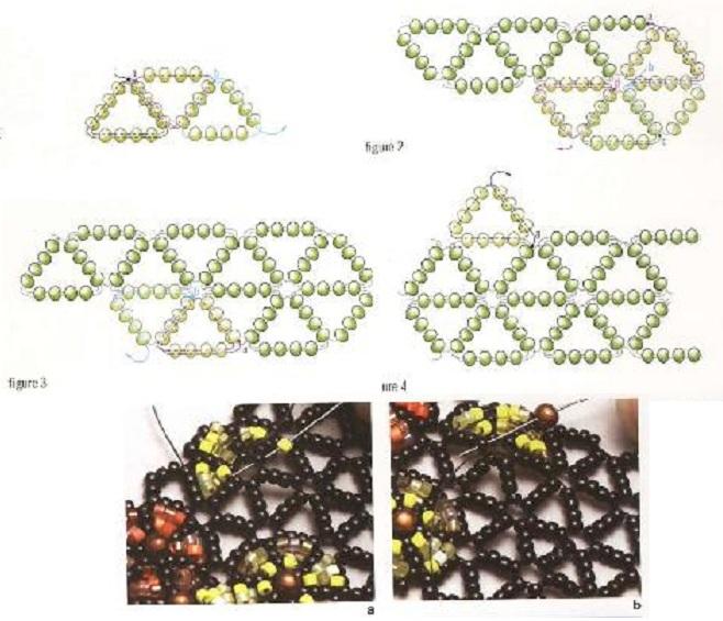 Второй браслет в цветочках из разных цветов бисера.  Третий браслет сплетен.