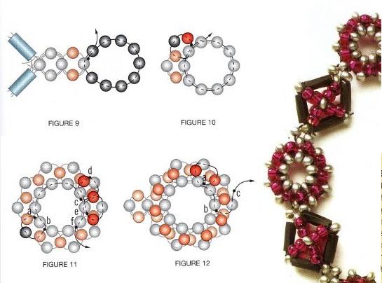 Синий и красный браслет из бисера и стекляруса, состоят из круглых и квадратных элементов.
