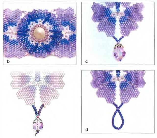 2. Затем плетутся отдельно маленькие лепестки... белый бисера - три оттенка фиолетового бисера от темного к светлому...