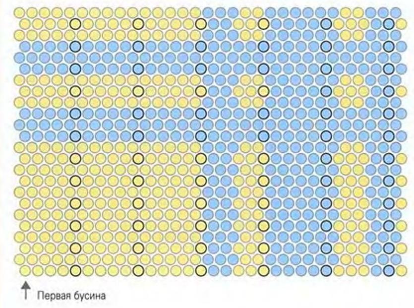 Наберите 3 золотистые бусины, 3 голубые, 3 золотистые, 3 голубые, 12 золотистых.  По схеме выполните прямоугольник в...