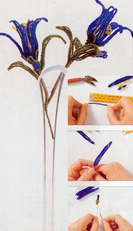 Чтобы изготовить эти цветы из бисера необходимо: - низки бисера - оцинкованная проволока 50 - полужесткий стержень...