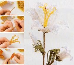 Мастер класс изготовления лилии из бисера