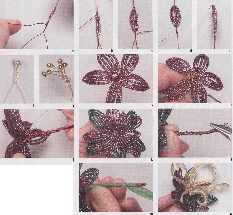 плетение цветов из бисера.