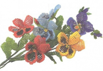 цветы из бисера. анютины глазки из бисера.