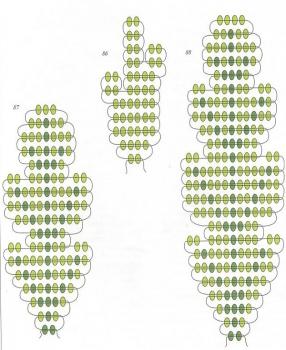 схема зеленых листочков из бисера