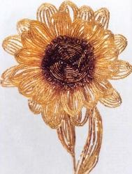 Подсолнух - цветы из бисера, описание.
