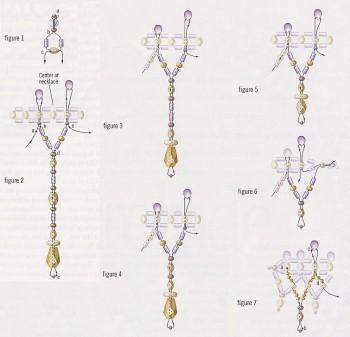 Схема колье.  Плетение украшений из бисера.