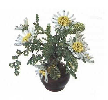 цветы маргаритки из бисера и стекляруса