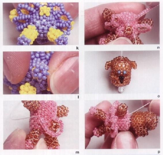 плетение мишки из бисера.
