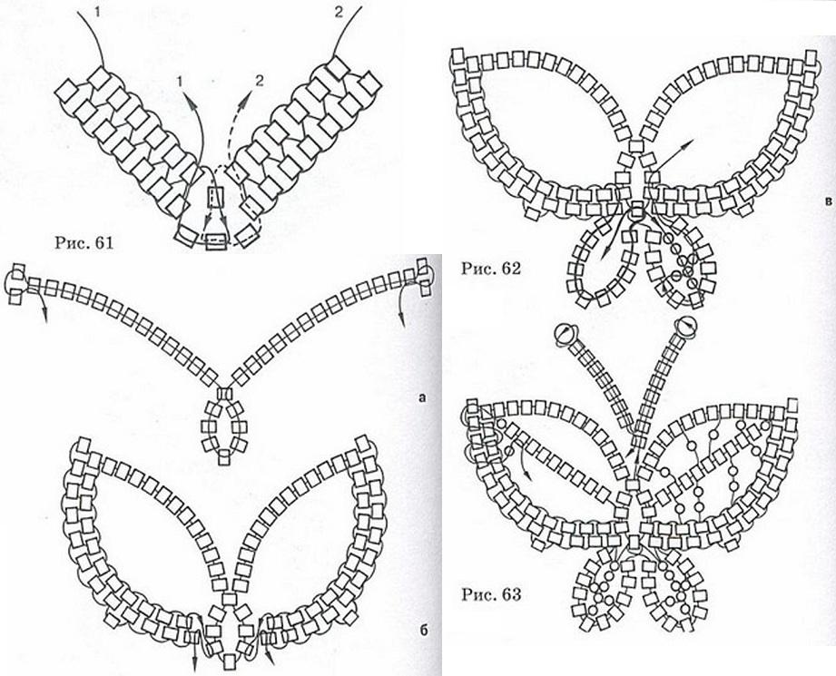Схема бабочки из бисера.