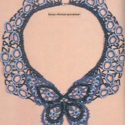 """Колье из бисера  """"Ночная красавица """" - произведение искусства.  Необыкновенная бабочка украшает это колье из бисера."""