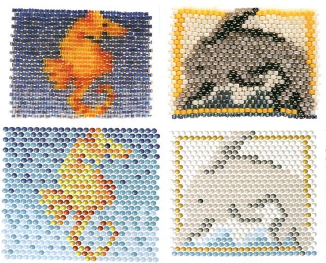 Схему плетения основного элемента комплекта из бисера, бусин и...
