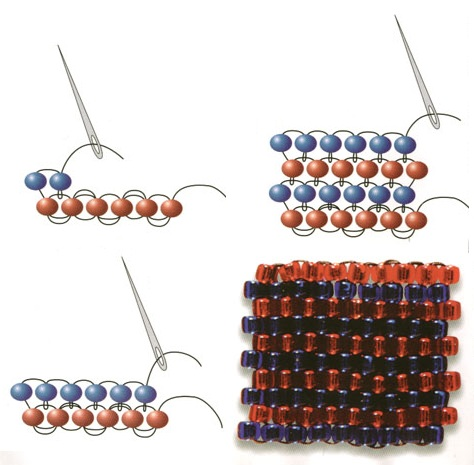 Схемы кирпичного плетения из бисера.
