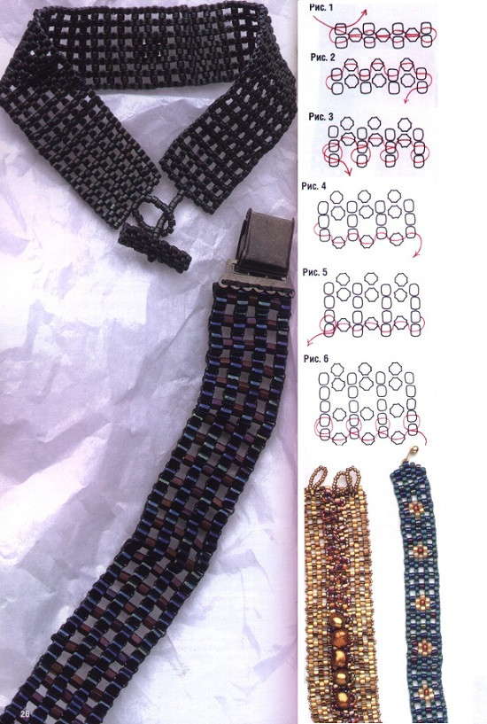 браслет- сетка из бисера. схема браслета-сетки из бисера.