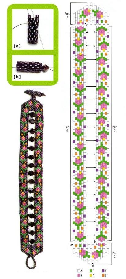 Простые схемы браслетов из бисера.