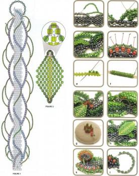 Схема плетения зеленого браслета. Бисер