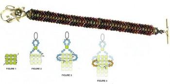 Схема плетения браслета.  Бисер.
