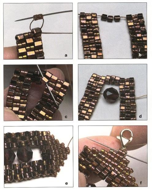 Барбара Грейнджер.  Второй браслет плетется из мелкой и крупной рубки и украшается граненными бусинами.
