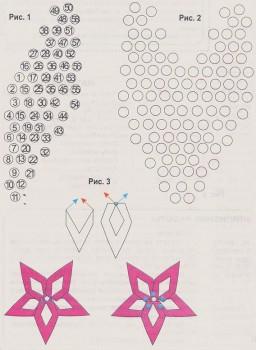 схема цветка из светлого бисера