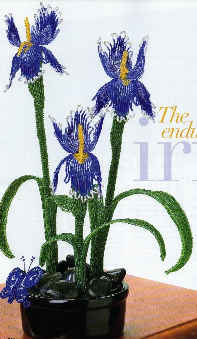 Синий ирис Красивые цветы ириса, сплетенные из бисера.  Подробный и пошаговый мастер-класс плетения лепестков и...
