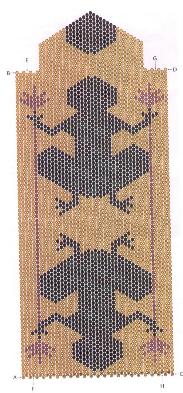 Для самой сумочки...  Орнаменты для плетения полотна из бисера.
