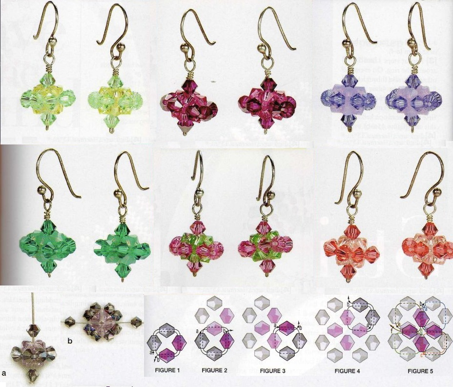 Несколько вариантов плетения серег из бисера, рубки, бусин и кристаллов.  Здесь вы найдете как и простые схемы...