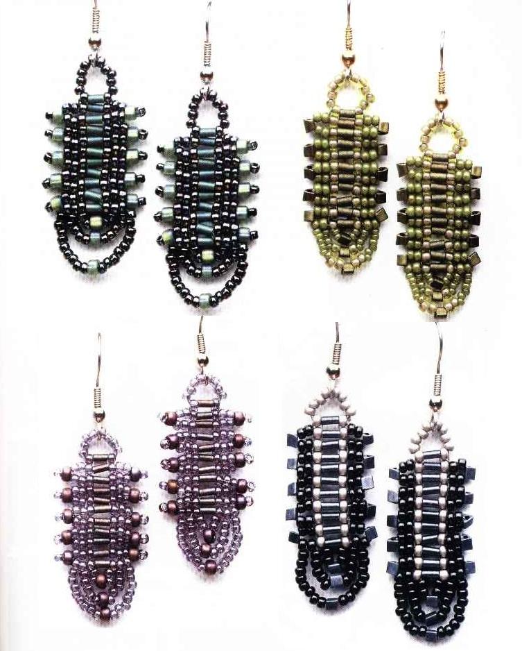 На этих схемах показаны разные примеры серег из бисера и несколько вариантов расцветок.