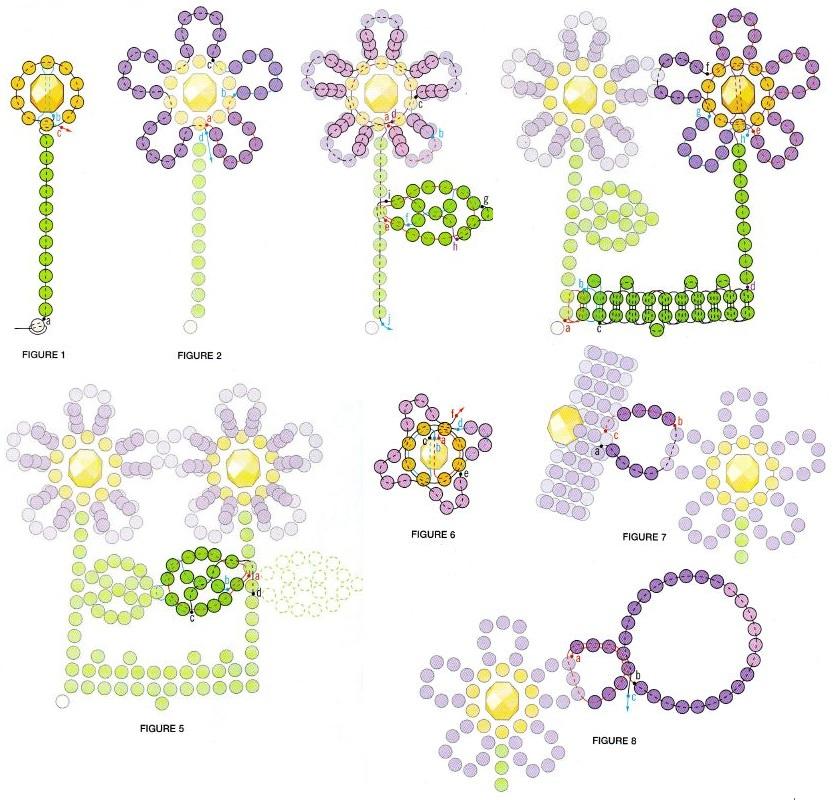 """Колье из бисера  """"Весенние цветы """".  Состоит из цветочков.  Подробная схема плетения колье, для самостоятельной работы."""