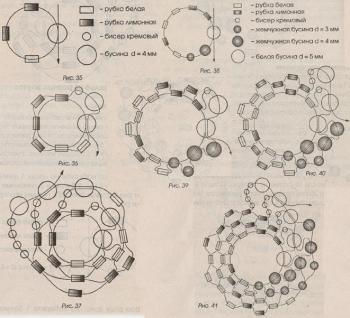 плетение двух видов жгута из бисера