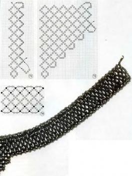 схема украшения из серого бисера