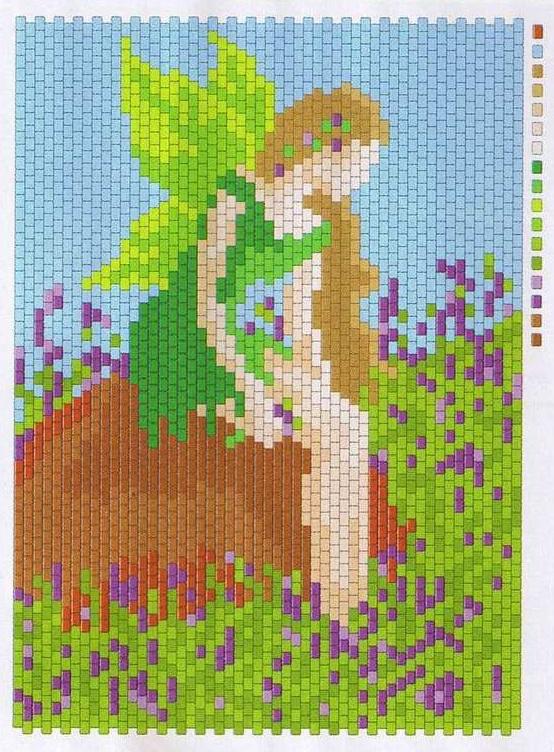 Отличные узоры для мозаичного и кирпичного плетения из бисера.  Большой выбор схем.  Их можно использовать как узоры...