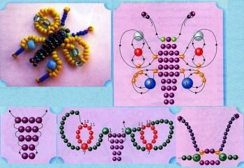 Схема плетения мотылька из бисера