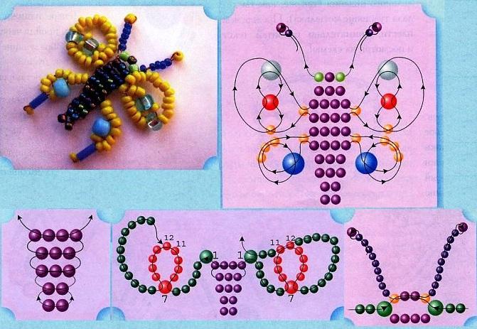 Схема плетения мотылька из