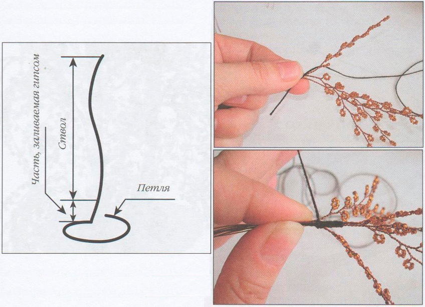 схема как плести березу из бисера