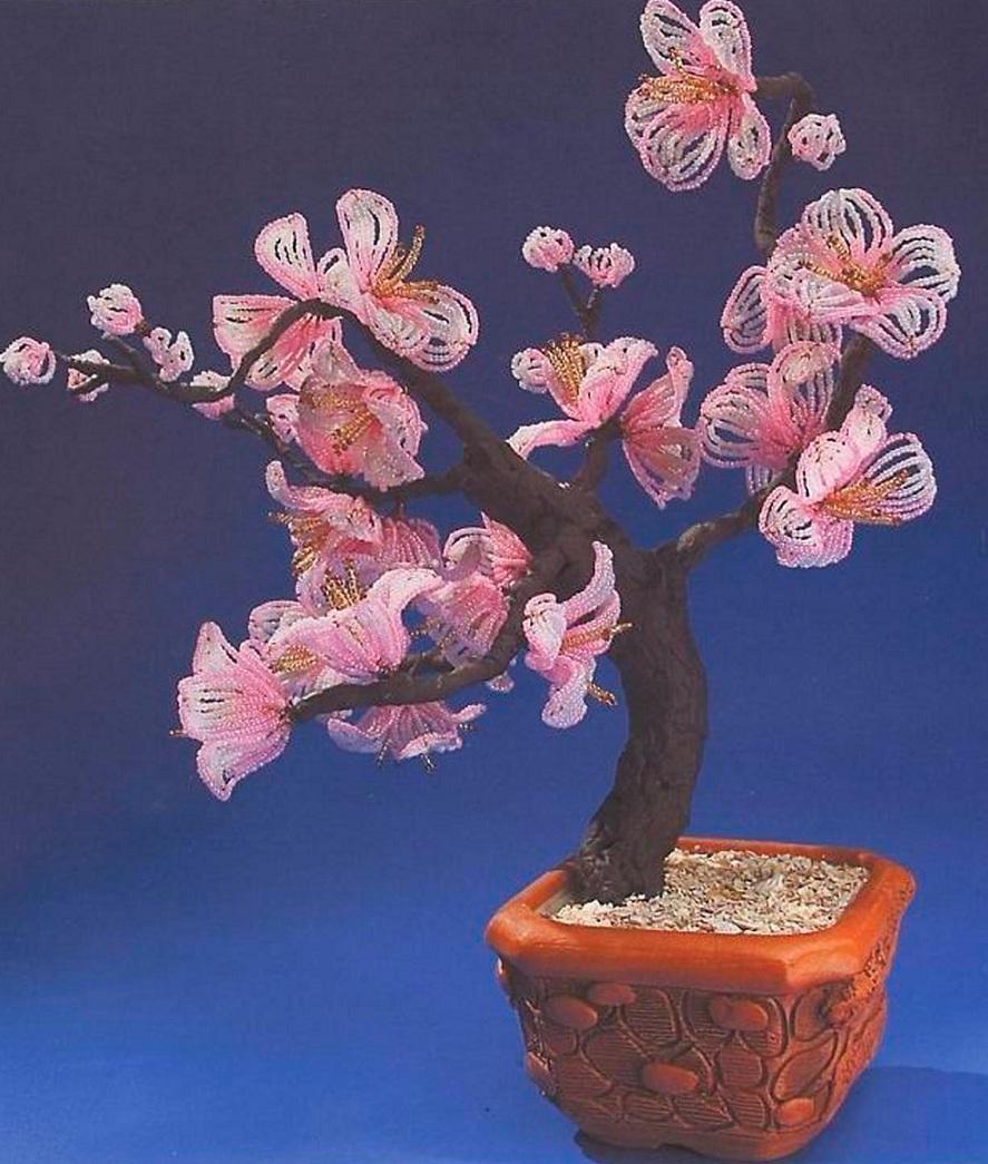 """Сакура  """"Дорога в Шамбула """" бонсай.  Дерево сплетенное из бисера."""