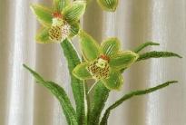 Орхидея зеленая из бисера