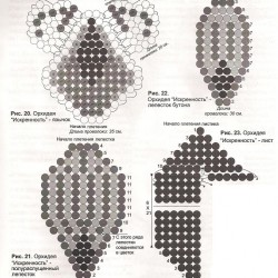 Схема плетения цветов из бисера.