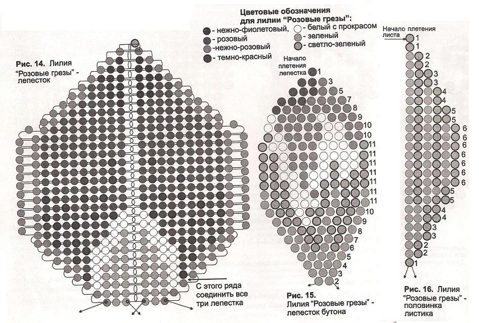 Схема плетения орхидеи из бисера.  Розовая орхидея.  Бисер.